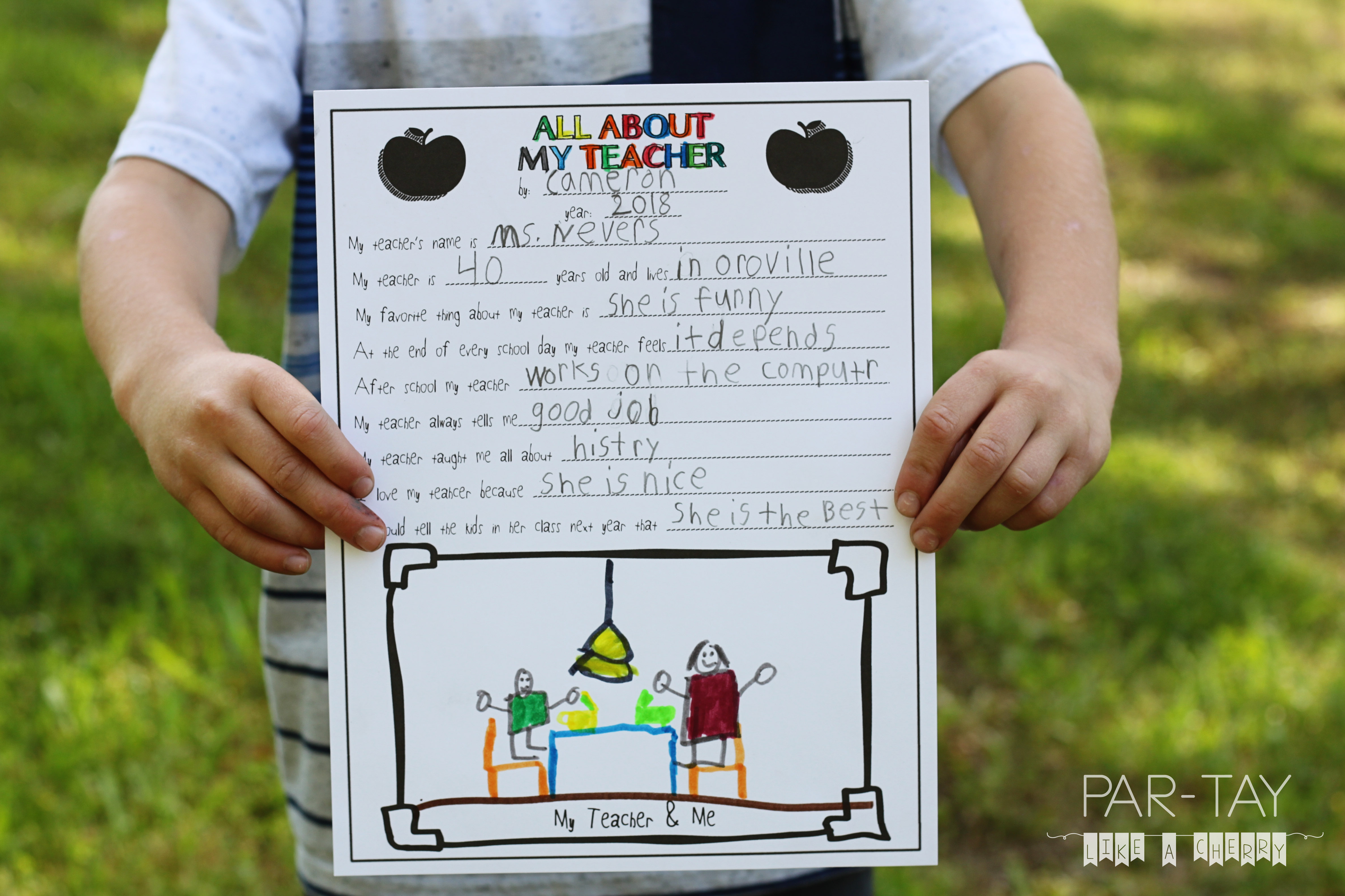 photograph regarding All About My Teacher Free Printable titled All Regarding My Instructor- No cost Trainer Appreciation Printable