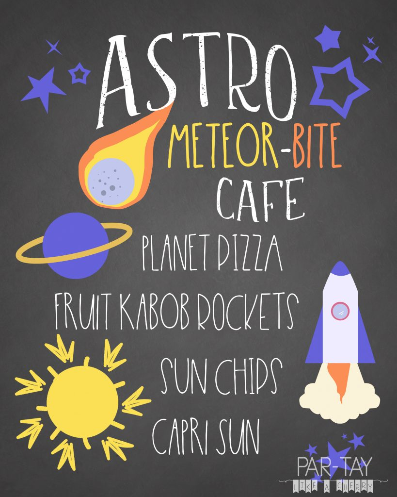 space party food menu free printable