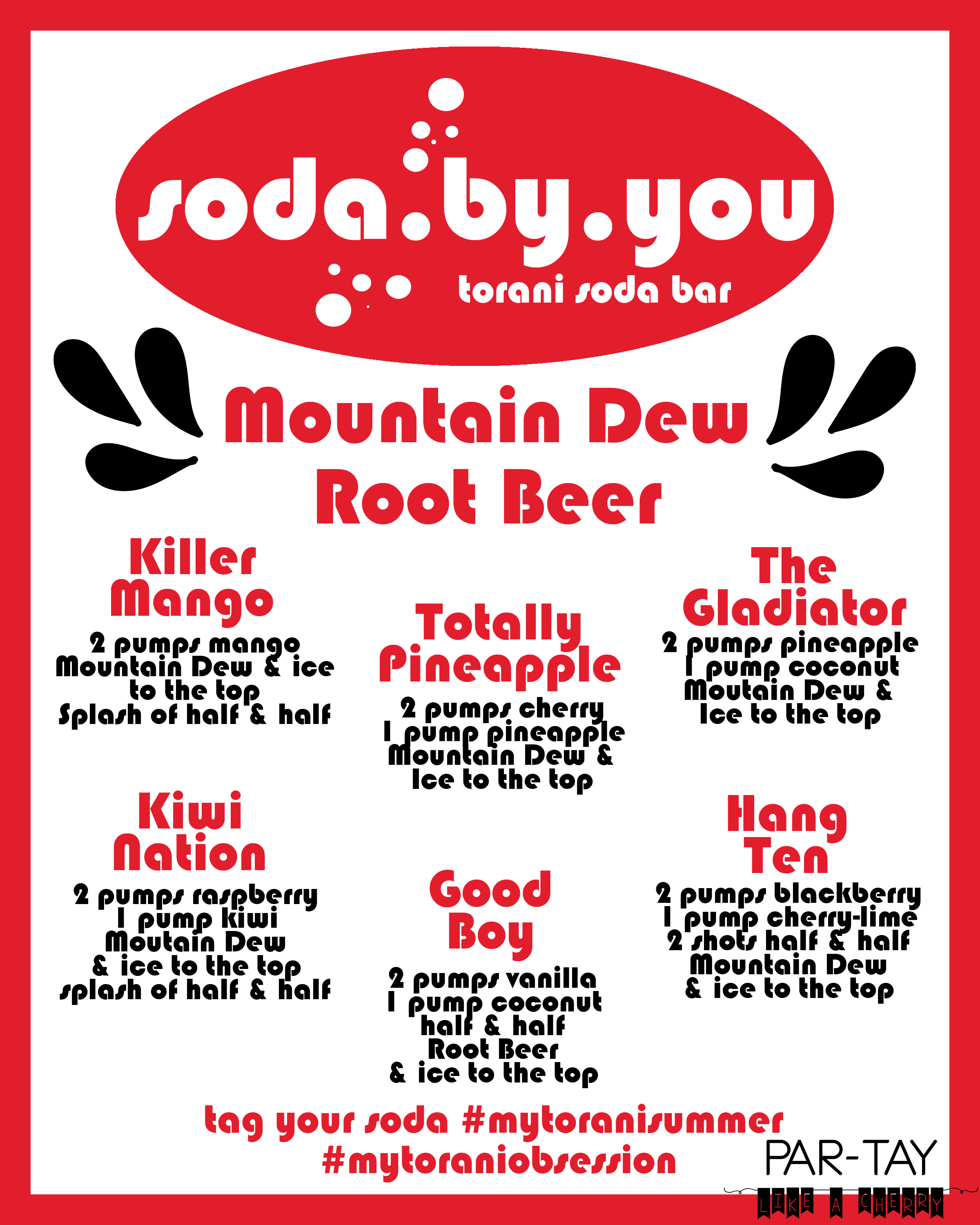 soda bar menu mtn dew root beer generic with logo party like a cherry