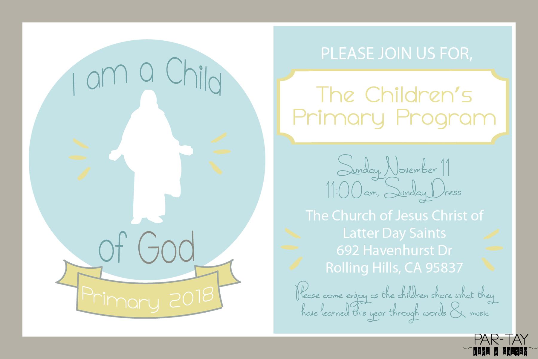 2018 Primary Program Invitation Party Like A Cherry
