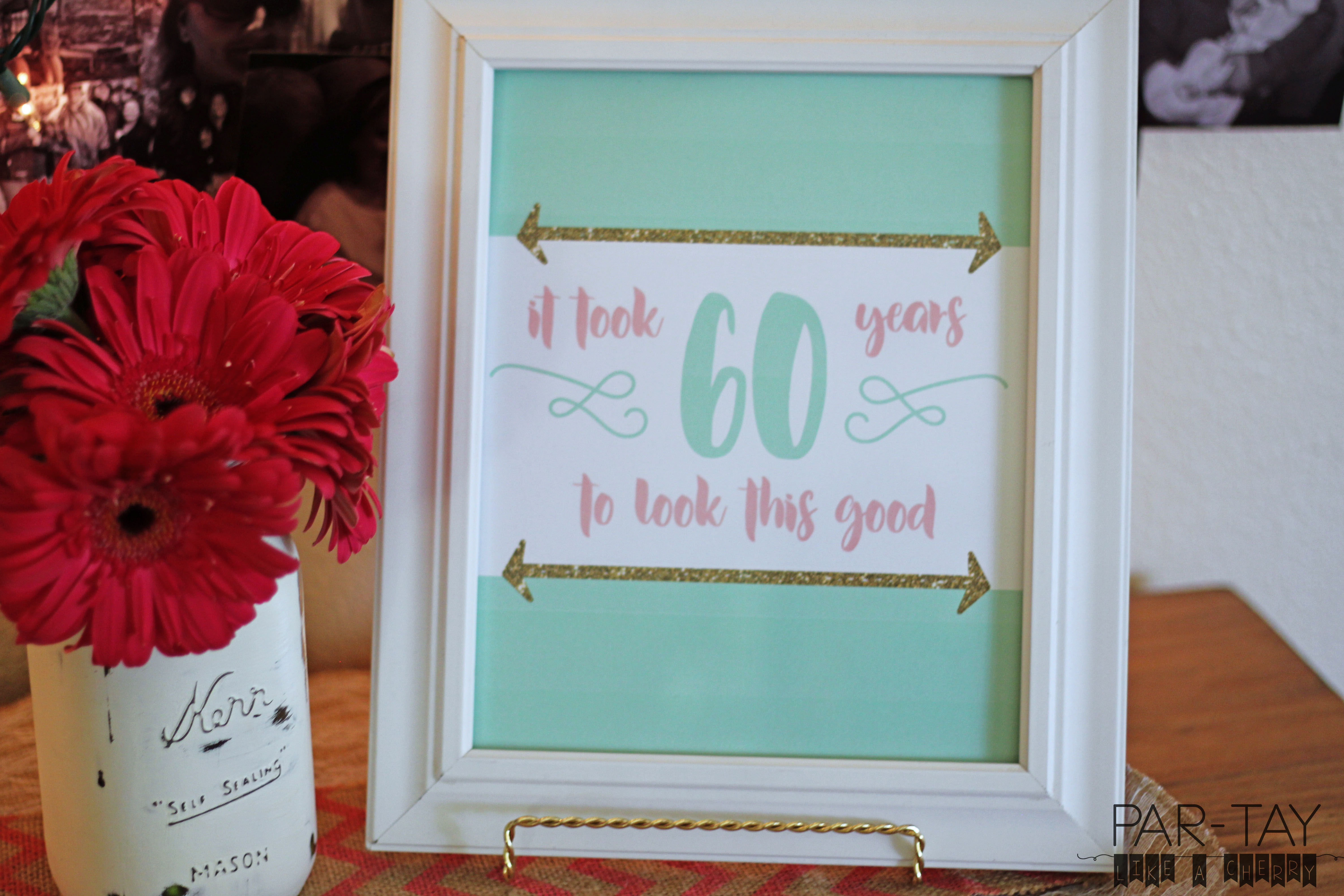 60th birthday party free 8X10 printable