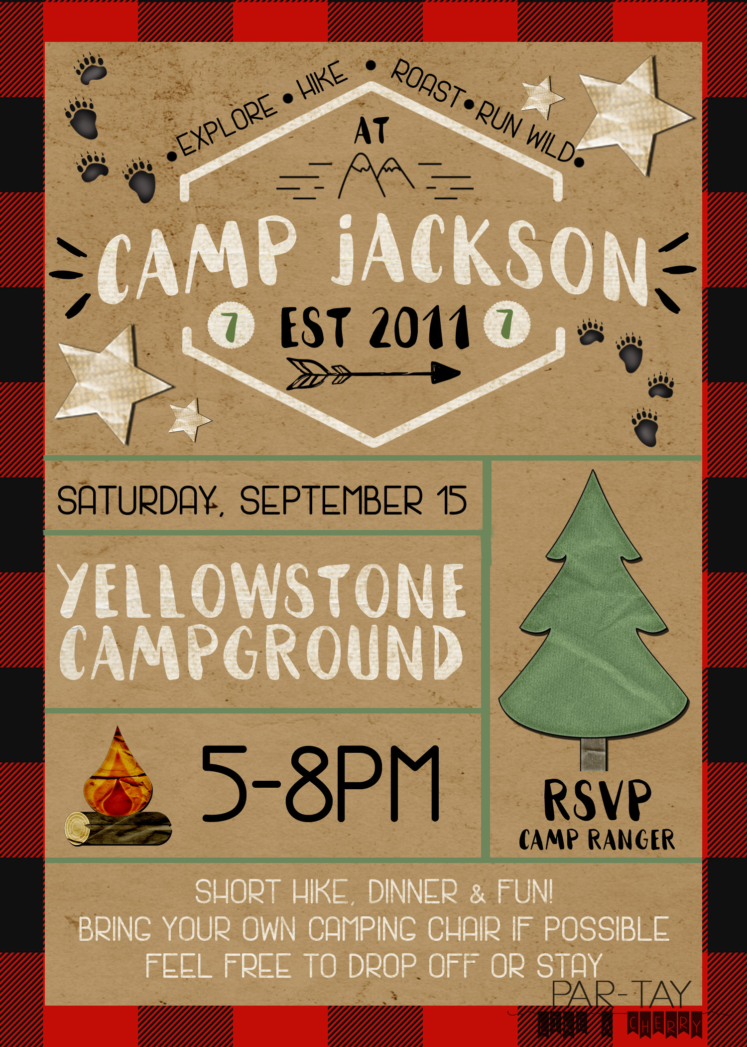 camping party invitation free template