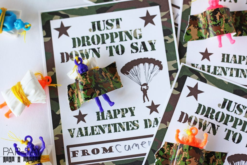 free printable parachuter valentine's day classroom exchange card