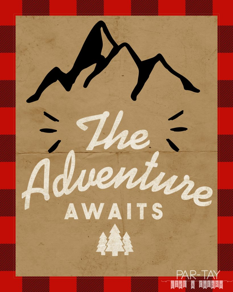 Adventure Awaits 8X10 free printable great for camping party