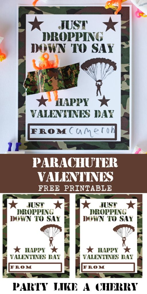 Free printable Valentine's Day cards perfect for classroom exchange. Parachuter Valentines!