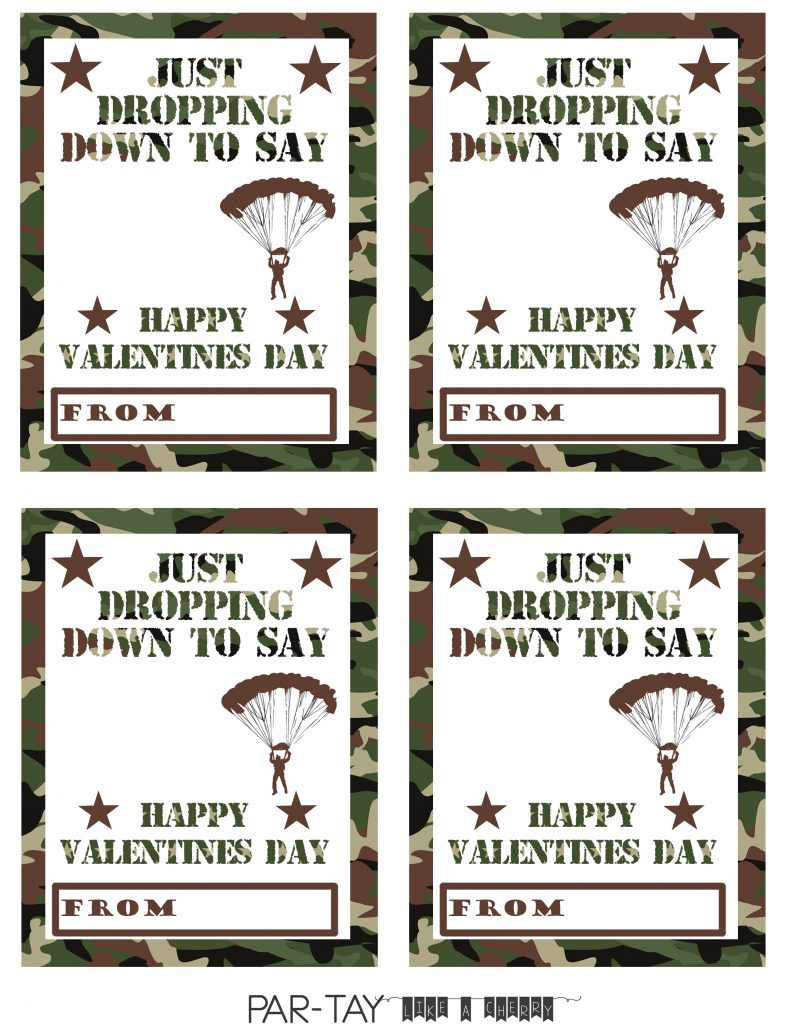 free printable parachute men valentines day cards from Party Like a Cherry
