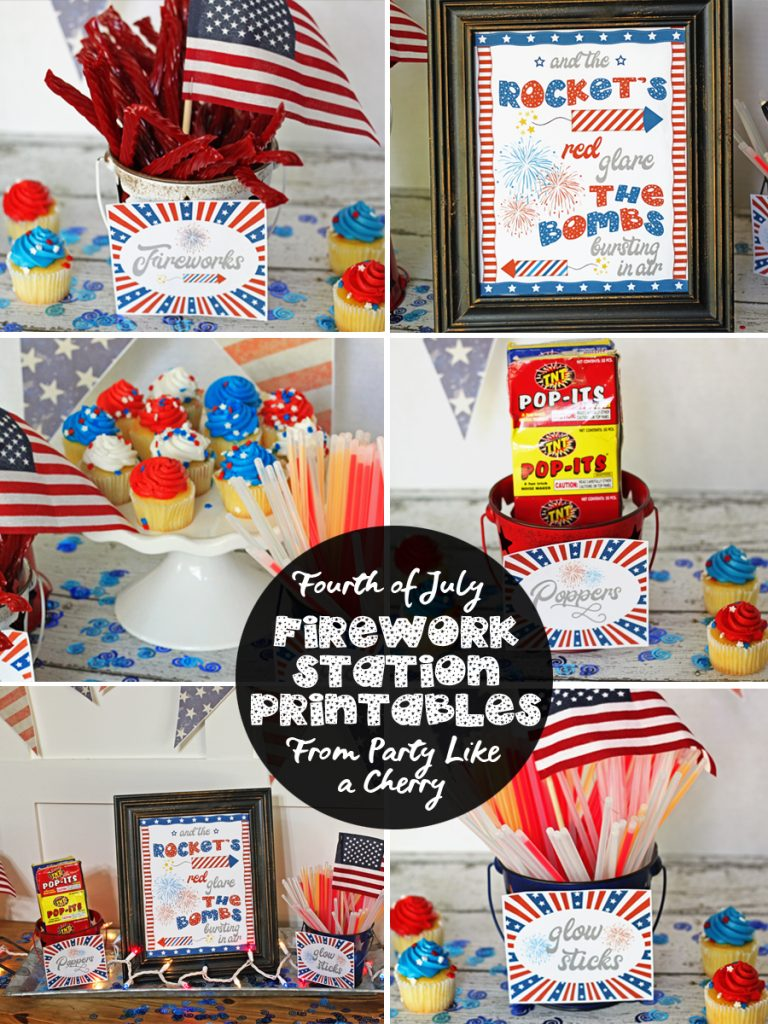 Free Fourth of July Firework Station Printables, great for your Independence Day gathering.