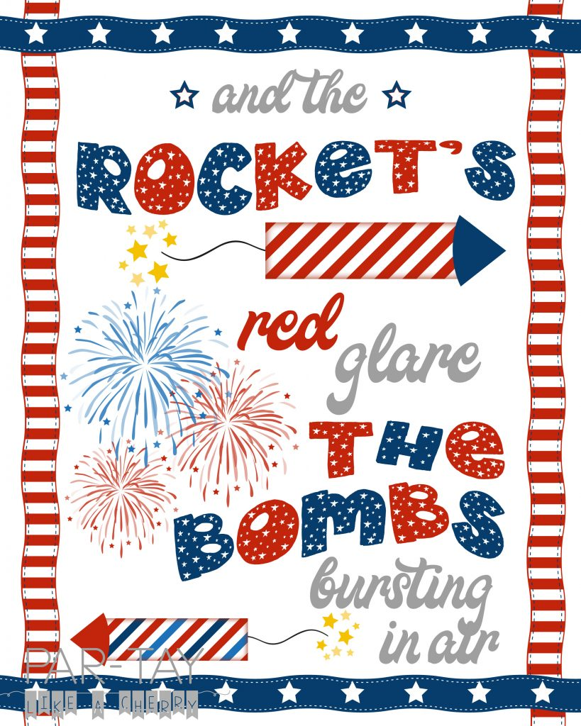 free fourth of july 8x10 print. oh say can you see lyrics.